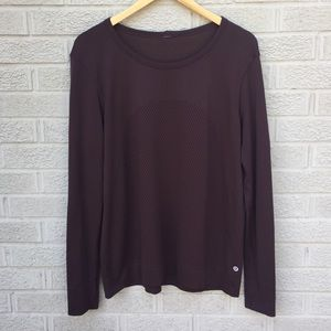 Lululemon Perforated Long Sleeve Brown Top
